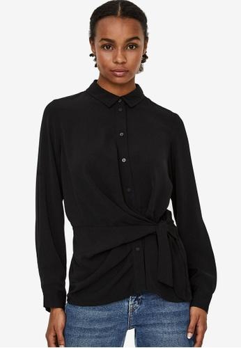 Vero Moda black Maci Knot Shirt 901B8AA6AA94E0GS_1