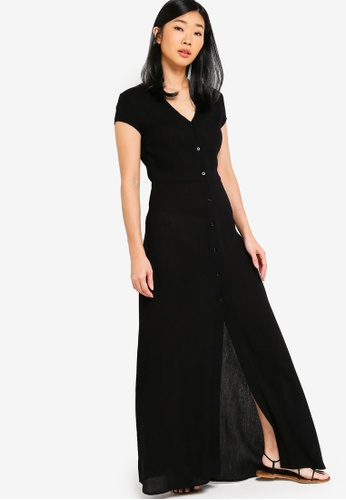 Something Borrowed black Button Down V-Neck Maxi Dress E7149AAA45D72BGS_1