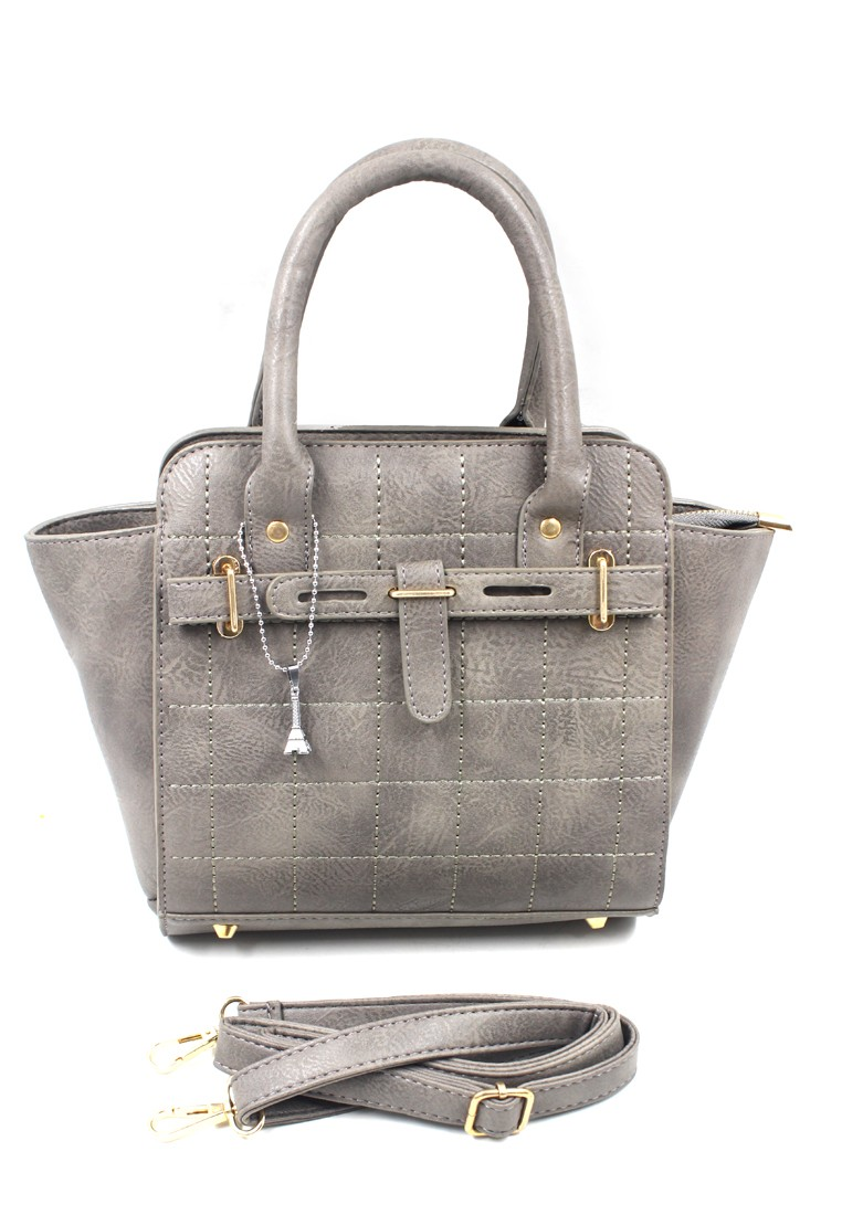 Vintage Paris Rebekka Hand Bag with Sling (Grey)