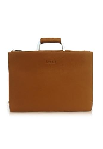 Kawamura brown Lotuff Simple Clutch & Briefcase KA610AC16AAXPH_1