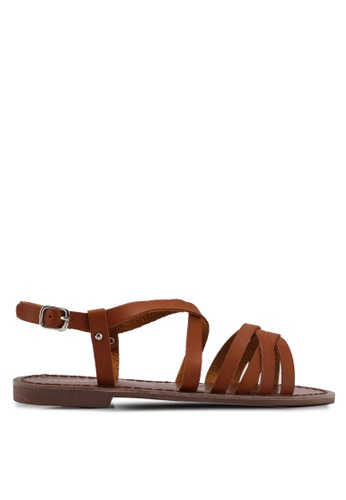 Mimosa brown Crossover Strap Sandals D212ASH31039BCGS_1