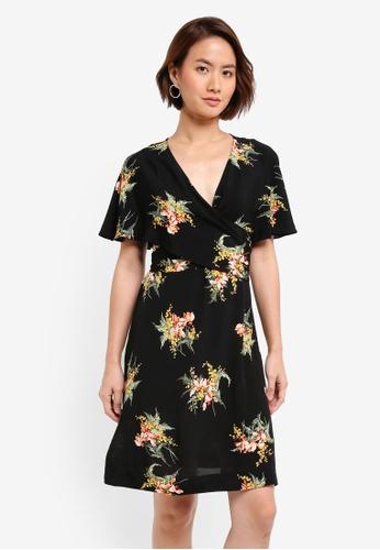 WAREHOUSE 黑色 Tropical Bunch Wrap Dress A978CAAC7B0170GS_1