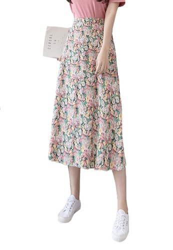 Halo red Summer Floral Printed Skirt 39A3CAAF14862EGS_1