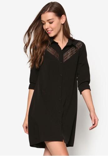 Loesprit 會員ve 蕾絲拼接襯衫式洋裝, 服飾, 洋裝