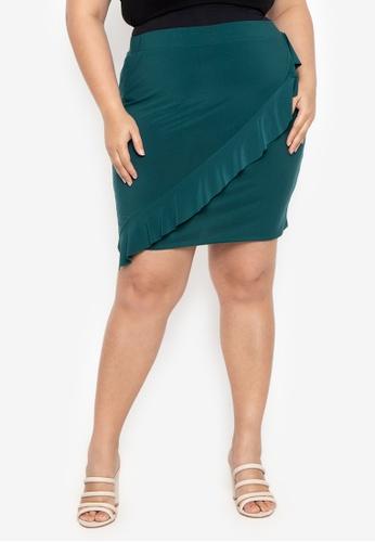 e03098384c2d2 Shop Curvy Plus Size Willow Ruffle Pencil Skirt Online on ZALORA Philippines