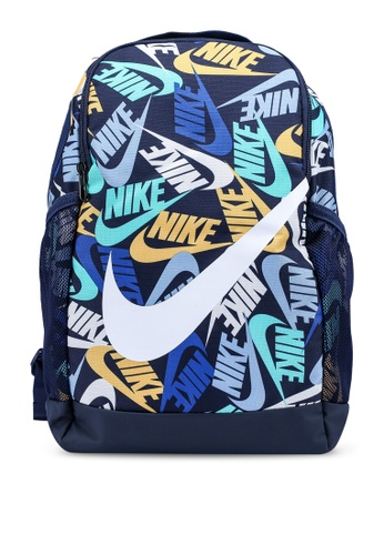 Nike blue Brasilia Kids Printed Backpack A4FD4KCE03586BGS_1