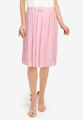 ZALORA WORK pink Pleated Skirt F14CEAA18F6385GS_1