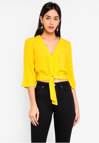 Miss Selfridge yellow Ochre Tie Front Pyjama Tee 55A7DAA6D6750CGS_1