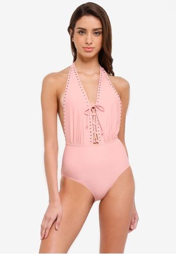 South Beach pink Lattice Detail Plunge Swimsuit 3DF3DUSB712DDAGS_1