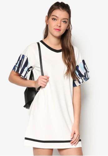 褶飾印花層次短袖直筒連身裙esprit服飾, 服飾, 洋裝