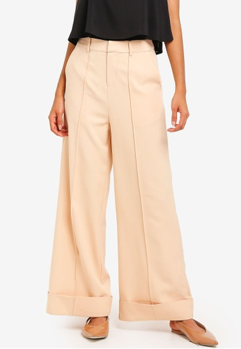 ZALORA BASICS beige Basic Deep Cuff Wide Leg Trousers 9A40EAA6272821GS_1