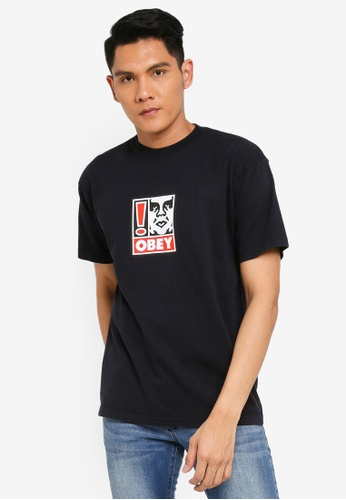 OBEY black Obey Exclamation Point T-Shirt 8374EAA69F649BGS_1