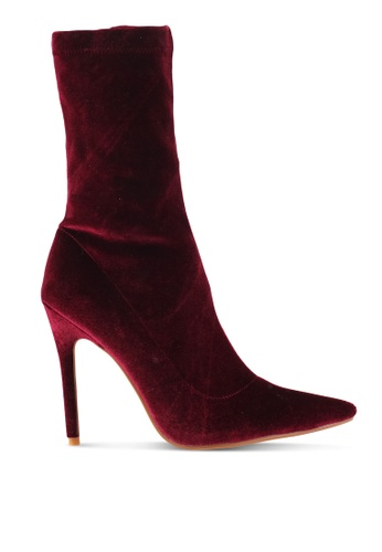 Public Desire red Direct Point Toe Sock Boots PU378SH0SIOTMY_1