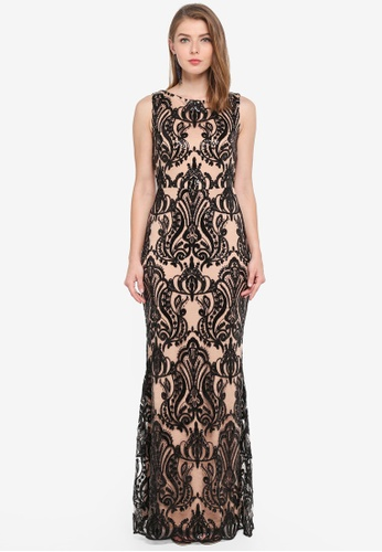 Goddiva black Sleeveless Sequin Embroidered Maxi Dress 99F74AA2B24198GS_1
