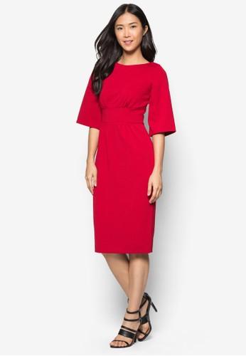 素色寬袖zalora鞋連身裙, 服飾, 服飾