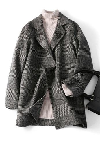 Twenty Eight Shoes black VANSA Vintage Check Wool Double-faced Coat  VCW-C8023 5FED0AAFE2EE06GS_1