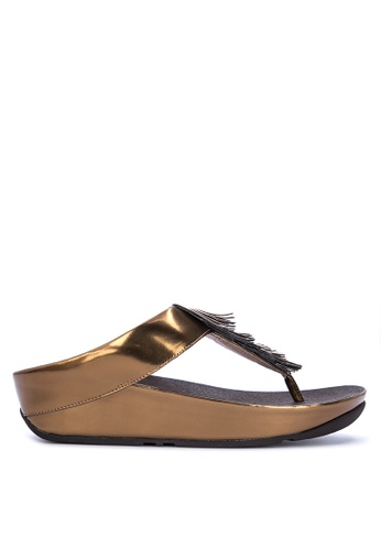 ce2c5fafbe727 Fitflop brown Cha Cha Fringe Toe-Thong Sandals -Metallic E95A7SH3BE37C1GS 1
