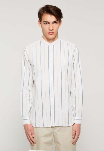 Sisley 藍色 條紋長袖襯衫 C8C75AA944BB20GS_1