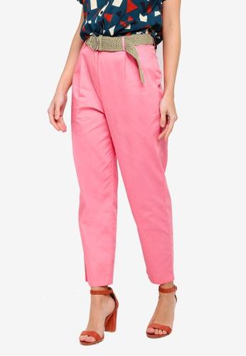 ZALORA pink Belted Long Pants B5A55AAD383CC4GS_1