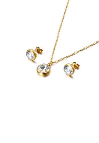 Glamorousky white Fashion and Simple Plated Gold Geometric Round 316L Stainless Steel Necklace and Stud Earrings Set with White Cubic Zirconia 8988FACA7966ACGS_1