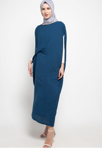 Chic Simple blue Xtal Chain Ruched Kaftan 9AFD5AAC51BB36GS_1