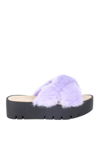 London Rag purple London Rag Women's Summer Purple Faux Fur Slipper SH1389 3162FSH0CEE19FGS_1