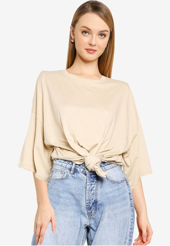 MISSGUIDED beige Tall Drop Shoulder Oversized T-Shirt 56FF3AA2646FBAGS_1