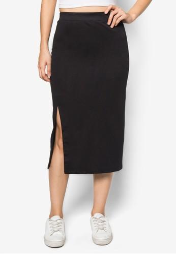 基本款zalora 折扣碼側開衩及膝短裙, 服飾, 及膝裙