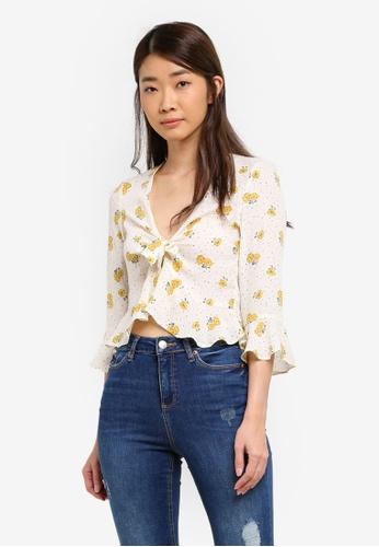 Miss Selfridge multi Floral Ditsy Tie Front Top 206D4AA6637998GS_1