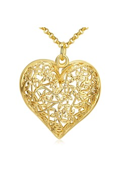 N035 Romanticcarved flower patterns with Heart Love Pendant Long Necklace Party Jewelry