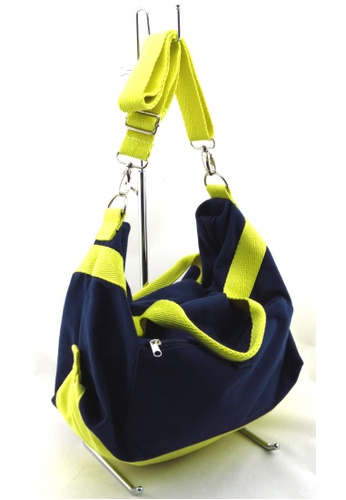 Esther Accessories blue Canvas 2 Way Wote (With Removable Shoulder Strap) - Navy ES153AC74WSZHK_1