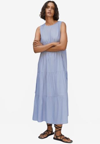 Mango blue Ruffles Flowy Dress B35FDAAF478BAFGS_1