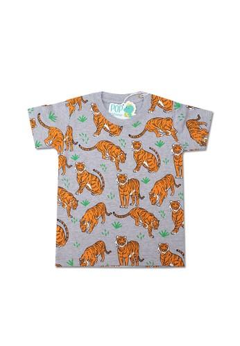 Pop Kidswear grey Pop Kidswear Tiger Kids Tee 91C01KABB45A17GS_1