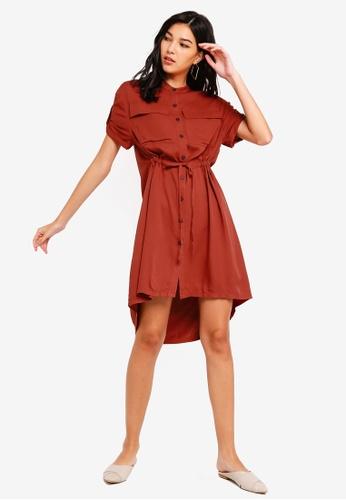 ZALORA orange Pull String Safari Shirt Dress 493B7AA8736AAAGS_1
