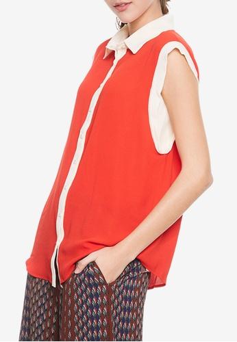 Sisley orange Sleeveless Shirt CF755AA7438D0AGS_1