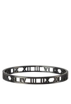 Premium-Stainless Steel Men'S Cuff Bracelet With Roman Numerals