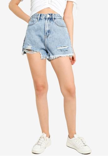 Urban Revivo blue Frayed Denim Shorts 3979CAA76DB4C6GS_1