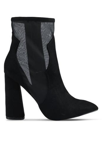 Public Desire black Dallas Mesh Detail Heeled Ankle Boots D4779SH7EF3F62GS_1