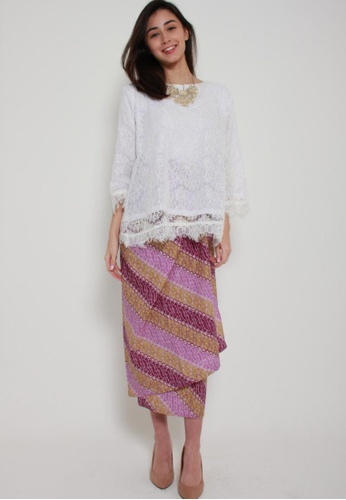 Naphthys Collection purple and beige Batik Skirt/Sarong 9FF3DAA9115E37GS_1