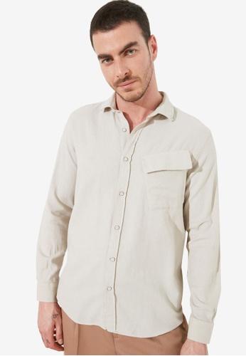 Trendyol beige Regular Fit Single Pocket Shirt B7CC3AA0FCBF10GS_1