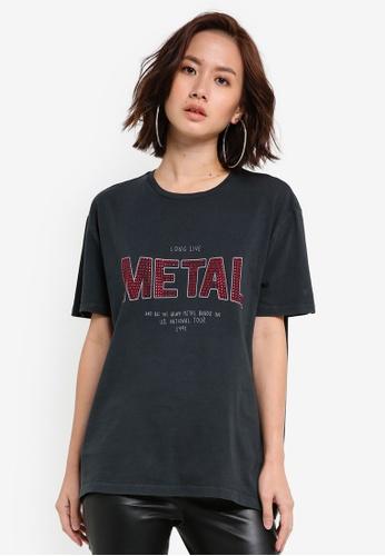 Mango grey Bead Message T-Shirt MA134AA0IPPNPH_1