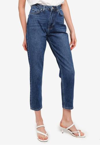 Trendyol blue Indigo Wash High Waist Mom Jeans 76DD6AA6AC21AEGS_1