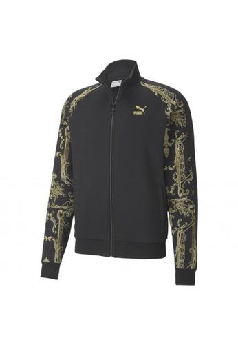 PUMA black PUMA Luxe Printed Full-Zip Men's Track Jacket D02BBAA7F79489GS_1