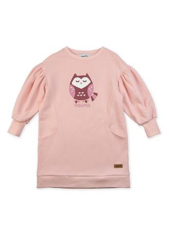 Vauva pink Vauva Girls Sleeping Owl Puff Sleeves Sweatshirt - Pink 8F3CBKADE7E898GS_1
