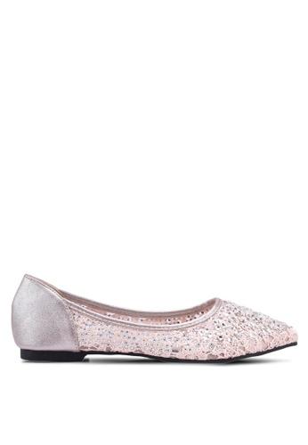 Mimosa pink Lace Pointy Ballerina Flats 612CDSH972DA22GS_1