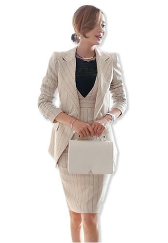 Sunnydaysweety white 2017 F/W White Striped Long Sleeves Coat with Sleeveless Mini Dress UA092075W SU219AA0FXP8SG_1