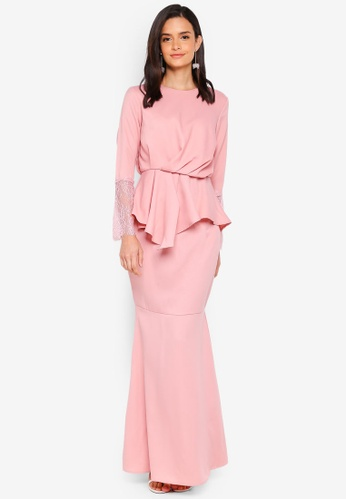 Lubna pink Draped Kurung with Lace Sleeves 7026DAA12DA7D6GS_1