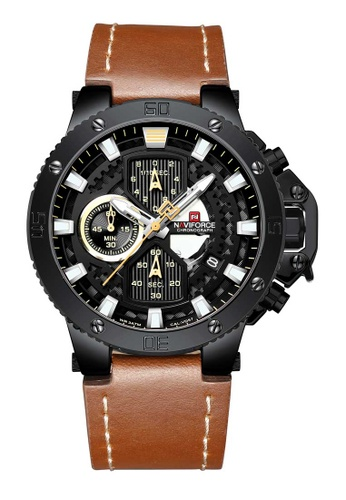 NAVIFORCE brown Naviforce Black and Brown Leather Watch B0EF8ACEF030A0GS_1