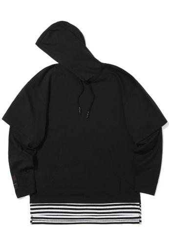 izzue black Stripe layered hoodie F54B1AA30192CAGS_1