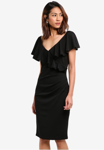Goddiva black Frilled V Neckline Midi Dress 2F5D1AA5D978FEGS_1